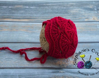 Crochet baby bonnet crochet Newborn photo props photography boy girl- Made to order