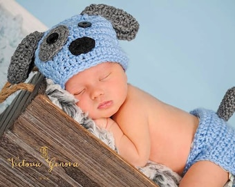 Crochet Newborn baby boy Puppy Hat and Diaper Cover, PHOTO PROP, Puppy hat and diaper cover set