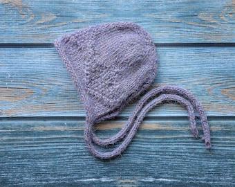 Ready to Ship, Alpaca Knit bonnet, photography prop, bonnet, infant girl bonnet, photo prop, Knitted baby bonnet, knit bonnet, bonnet