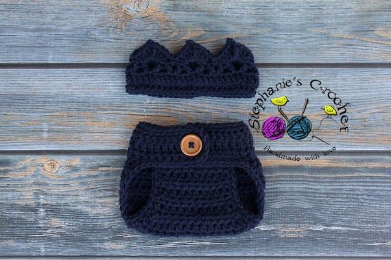 Crochet Newborn Boy Crown Diaper Cover Crochet Crown