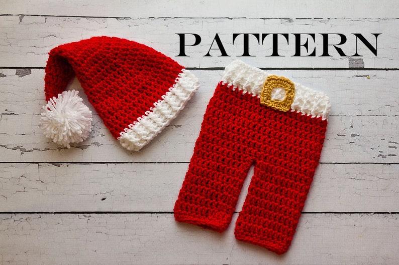 Crochet PATTERN  Christmas Newborn Santa hat and pants set image 0