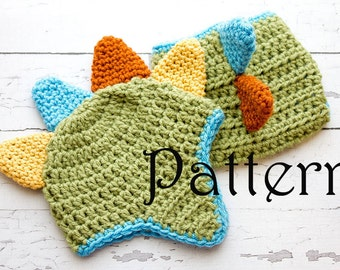 Crochet PATTERN - Newborn Dinosaur hat and diaper cover Photo Prop Set -Instant Download PDF 100 - Photography Prop Pattern