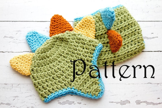 Crochet Pattern Newborn Dinosaur Hat And Diaper Cover Photo Etsy