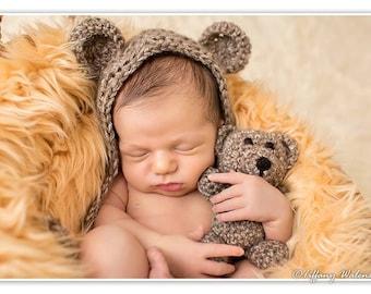Crochet Newborn baby bear bonnet & teddy bear set crochet Newborn photo props photography boy/girl- Made to order