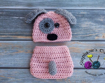 Crochet Newborn baby girl Puppy Hat and Diaper Cover, PHOTO PROP, Puppy hat and diaper cover set