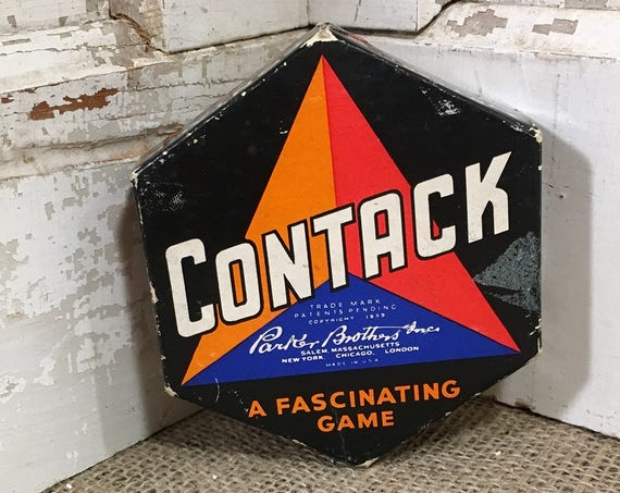 Contact game from 1939,  family night fun, vintage game night, vintage Parker Brothers game, Contack a fascinating game, 1930's game