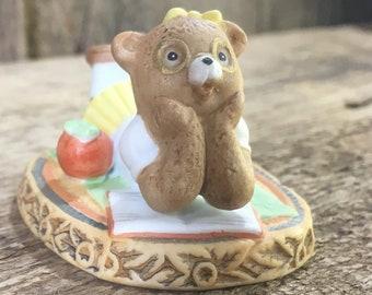 Honey Bears by Geo Z. Lefton Co 1983, daydreaming bear, Honey Bears 03792, bear figurine, bear collection,studying dreaming little girl bear