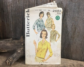 Vintage sewing pattern, Butterick 2683, 1960's cut sewing pattern, blouse sewing pattern, 1960's blouses, vintage blouse pattern