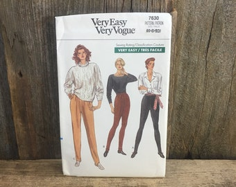Very Easy Very Vogue pattern 7630, Butterick 7630, uncut sewing pattern, sewing pattern for tapered pants, 1980's tapered pants sewing