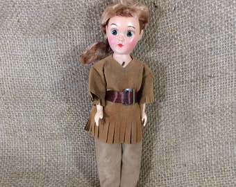 Cute little Davy Crockett, Daniel Boone looking doll, mid century doll, hard plastic small doll, doll collectors, western looking doll