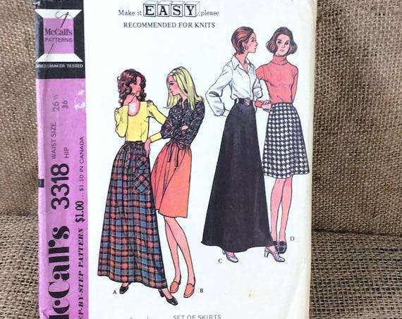 Vintage McCalls skirt pattern, McCalls 3318, 1972 skirt pattern, vintage pattern, set of skirts to sew, vintage McCalls, 2.50 US shipping