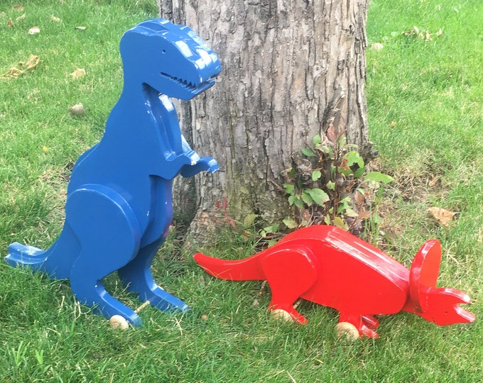 Featured listing image: Vintage handmade rolling wooden dinosaurs, vintage dinosaurs, pair of dinosaurs, childrens toys, childrens dinosaur toys, rolling dinosaurs