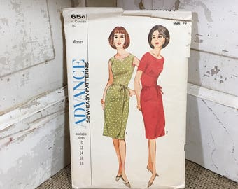 Vintage Sew Easy Advanced pattern 3475, 1964 Advance Pattern misses dress size 10, vintage pattern, mod dress pattern, 2.50 US shipping