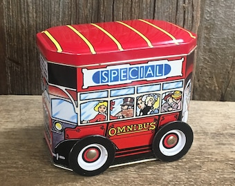 Vintage Omni Bus Special tin, vintage tine from the UK, Made in England tin, tin collectors gift, Bus 11 Omni bus tin, vintage container