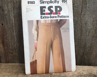 Simplicity 8185 ESP from 1977  uncut, misses pull on pants, easy to sew, extra sure pattern, size 10, 12, 14, 1970's pants to sew
