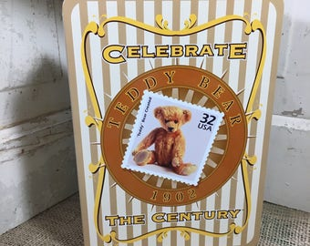 Tin collectors gift, USPS Teddy Bear collectors tin, Celebrate the Century tin, old note card holder collectors tin, teddy bear tin