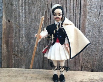Vintage Greek folk art doll, folk art collector, 1950's folk art Greek doll, Male Greek folk art doll in native dress, vintage doll collecto