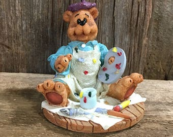 Vintage Blessing Buddies Jean-Claude Beret, first edition 1998 bear figurine, hob lob limited partnership, bear collector, painting bear