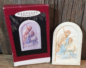 Hallmark He Is Born, Hallmark Keepsake ornament in original box from 1993, For unto us a child is born Isaiah 9:6, Christmas 1993 Hallmark