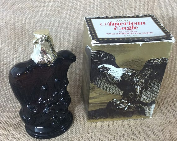 Avon American Eagle decanter with original box, vintage Avon, Avon American Eagle with Windjammer aftershave, vintage Avon full after shave