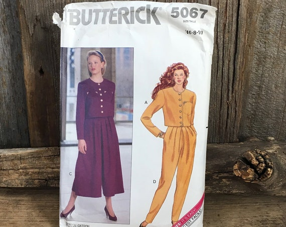 Vintage Butterick 5067, vintage sewing pattern, Butterick pattern from 1990, great 1990's top, split skirt and pants, size 6-8-10 pattern