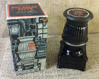 Avon collectibles, Avon Pot Belly Stove decanter, Avon stove decanter, vintage Avon decanter, Avon for men, Excalibur aftershave, stove
