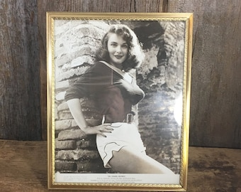 Vintage pin up photo with vintage gold tone frame, The Golden Mistress, Rosemarie Bowe, 1954 United artist pinup picture, pinup girl photo