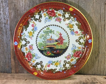 Vintage round Daher serving tray, Asian designed tray, vintage decor, Daher Decorated Ware, Serving tray made in England, designed by Daher