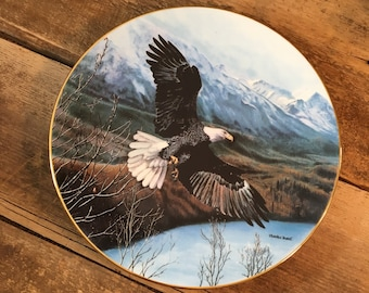 Eagle plate, bald Eagle decor, Soaring Majesty collectors plate, Freedom by Charles Frace,man cave decor Eagle collectors 1991 bradex plate