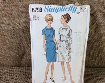 Vintage Simplicity dress pattern, super look from the 60's, Simplicity pattern 6799, Simplicity primer, 1966 dress pattern, misses  ladies