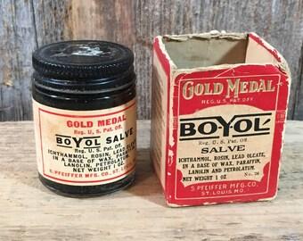 Vintage Gold Medal Boyol salve by S Pfeiffer Mfg., Co, st. Louis Missouri, vintage salve bottle and box,vintage medicine bottle, medical jar