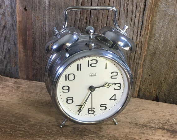 Vintage MOM double bell wind up alarm clock, MOM alarm clock from Hungary, silver toned bell alarm clock, vintage clock from Hungary, clock