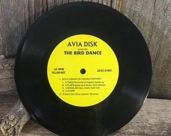 Vintage 45 RPM The Bird Dance, Avis is presents The Bird Dance, fun party music, vintage the bird dance vinyl record, vintage 45 record