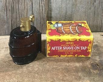 Avon After Shave on Tap, Avon Spicy decanter with original box, vintage Avon, vintage Avon full after shave, Avon Spicy After Shave on Tap