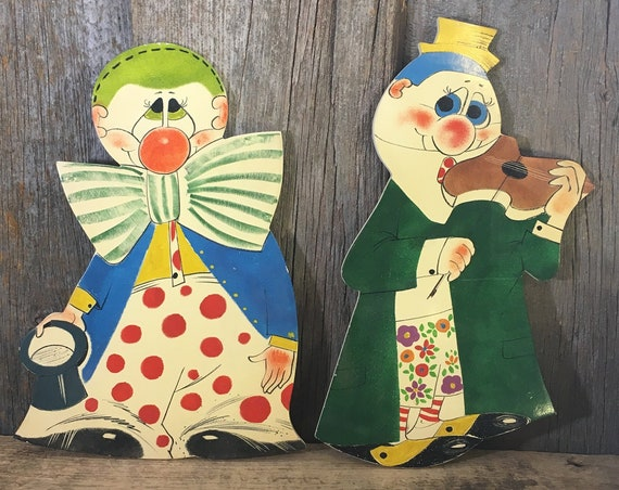 Vintage clowns, made in Italy colorful clown wall hangings, children's bright decor, clown decor, goofy clown wall plaques,mid century clown