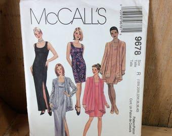 Vintage McCalls pattern, pattern 9678, McCalls 9678, sewing pattern for dress and jacket, 1996 sewing pattern, 2.50 US shipping