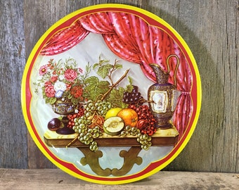 Vintage round Daher serving tray, fruit designed tray, vintage decor, Daher Decorated Ware, Serving tray made in England, designed by Daher