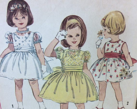 Super SImplicity pattern from the 1950's girl dresses, vintage toddler dresses from the mid century, vintage Simplicity,, 2.50 US shipping