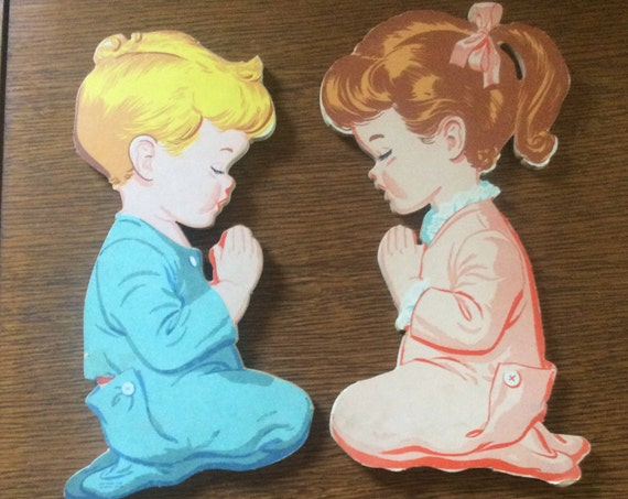 Vintage The Dolly Company praying boy and girl pin up, super cute mid century wall decor, cardboard from 1950's nursery wall decor, vintage