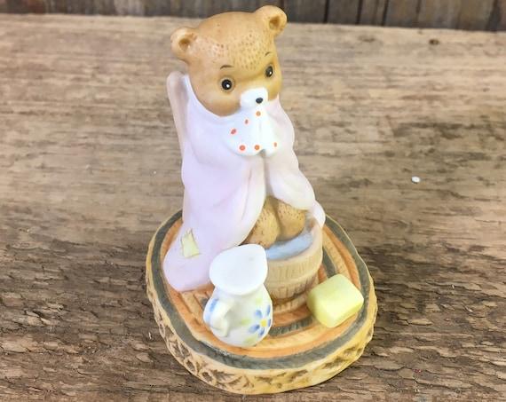Honey Bears by Geo Z. Lefton Co 1983, sick sniffling bear, Honey Bears 03790, bear figurine, bear collections, bear soaking feet, bears