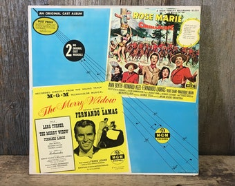 Vintage vinyl record album, from the musicals Rose Marie and The Merry Widow, original cast musical albums, vintage soundtracks