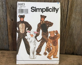 Vintage Simplicity 9983 sewing pattern, Halloween sewing pattern, Simplicity 9983 from 1995, Adult animal costume, adult Halloween custome