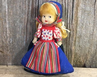 Danish rubber doll, soft rubber Danish folk dressed doll, cute little Danish doll, Swedish doll, Soft rubber posable arms doll, little doll