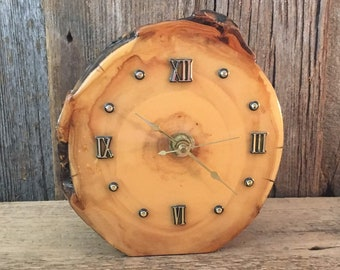 Vintage lacquered wood table clock, vintage 70's lacquered clock, 70's decor, vintage hand crafted lacquered clock, 1970's wood decor