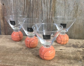 Vintage Circleware basketball shaped bar glasses, vintage barware, bar glasses, man cave decor, basketball glasses, sports bar glasses