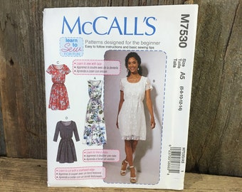 McCalls M7530 uncut sewing pattern, McCalls 7530 from 2017, McCalls misses dress lined, loose fitting, pullover dress, McCalls size 8-14
