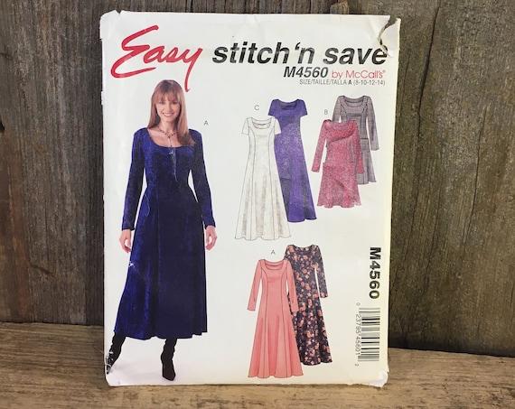 McCalls Stitch N Save pattern, McCalls M4560, McCalls pullover dress sewing pattern, 2004 sewing pattern, size 8-10-12-14 sewing pattern