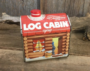 Vintage Log Cabin 100th Anniversary tin, Log Cabin decor, tin collectible, syrup container, vintage log cabin tin, log cabin syrup tin