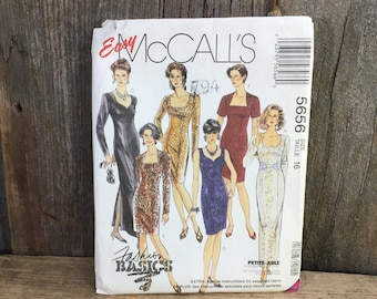 Vintage McCalls pattern 5656, McCalls 5656, Easy McCalls pattern, 1991 sewing pattern, vintage evening dress pattern, vintage dress pattern