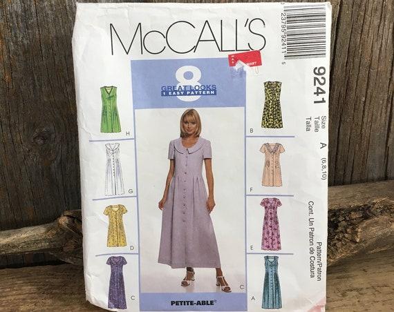 Vintage McCalls pattern, McCalls 9241, vintage partially cut sewing pattern, size 6-8-10 dress pattern, vintage from 1987, dress pattern